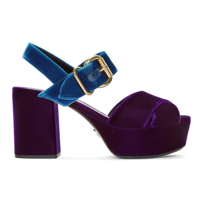 Bleu Prada 85 Sandales Plate-forme De Velours tEWc7V9e