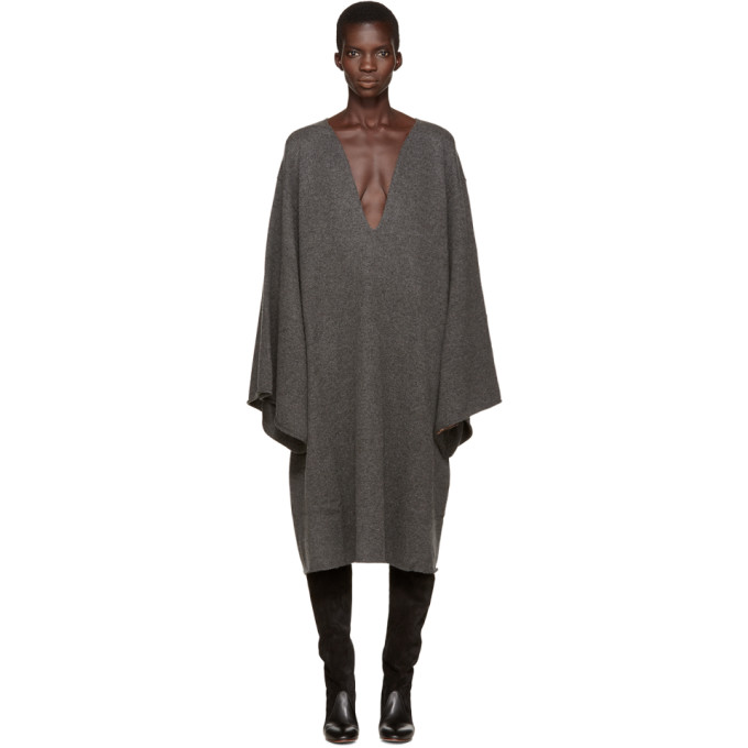 Grey Deep V Cashmere Dress by ChloÉ