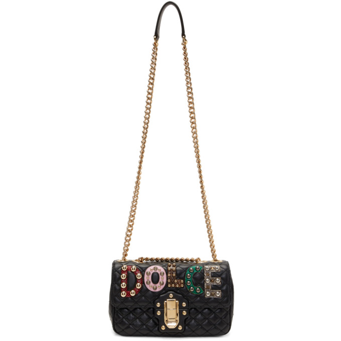 DOLCE & GABBANA DOLCE AND GABBANA BLACK QUILTED LUCIA BAG