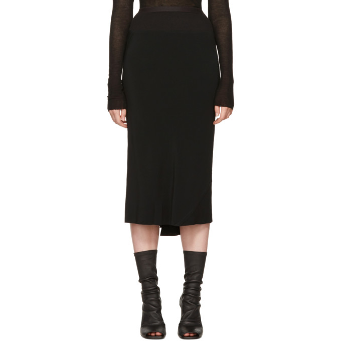 Black Knee Length Skirt by Rick Owens