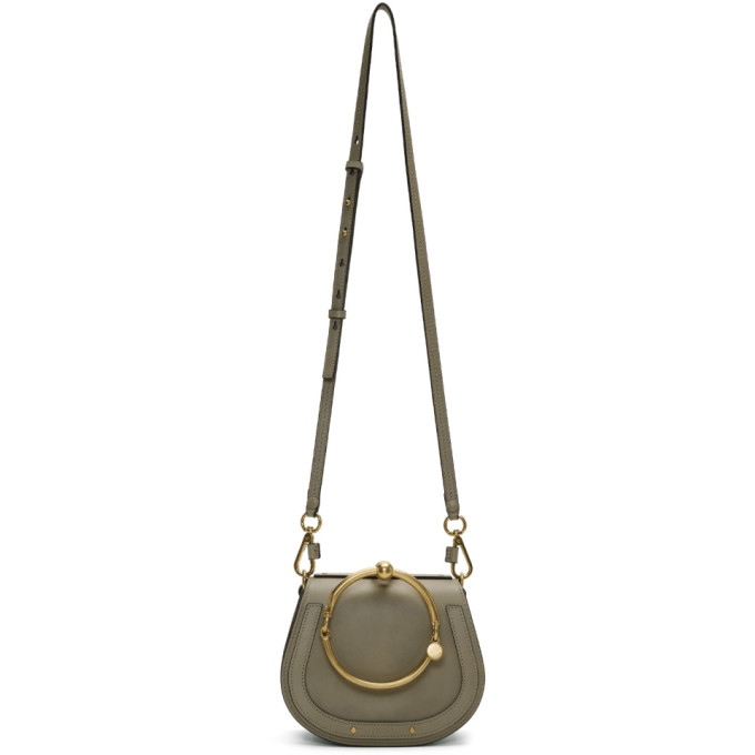 Nile Bracelet Medium Textured-Leather And Suede Shoulder Bag, 23W Motgrey