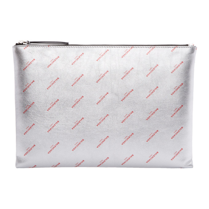 Silver & Red All Over Logo Pouch by Balenciaga
