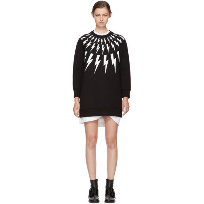 Neil Barrett Black Fairisle Thunderbolt Sweatshirt Dress