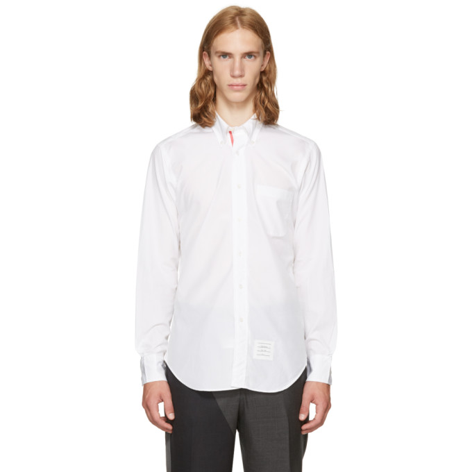White Classic Point Collar Button Down Shirt by Thom Browne
