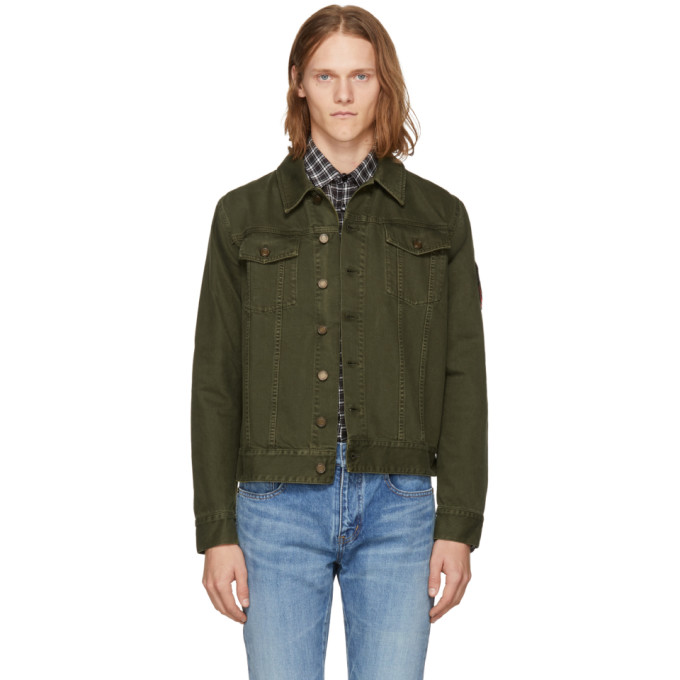 Khaki Denim Jacket by Saint Laurent