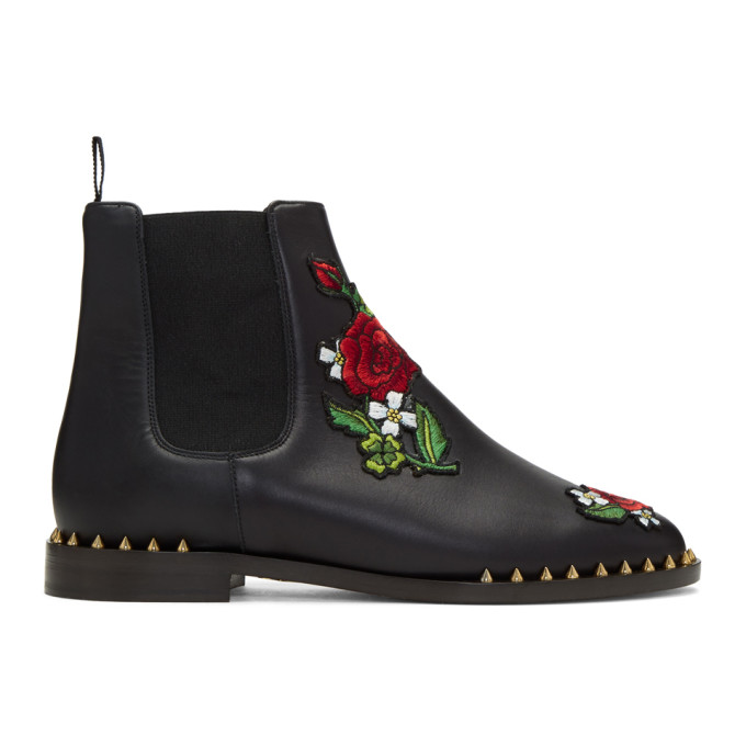 Black Floral Studded Chelsea Boots by Charlotte Olympia
