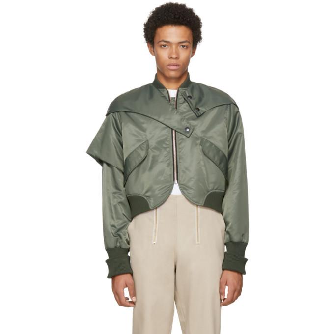 VEJAS Green Asymmetric Flap Bomber Jacket in Olive Green