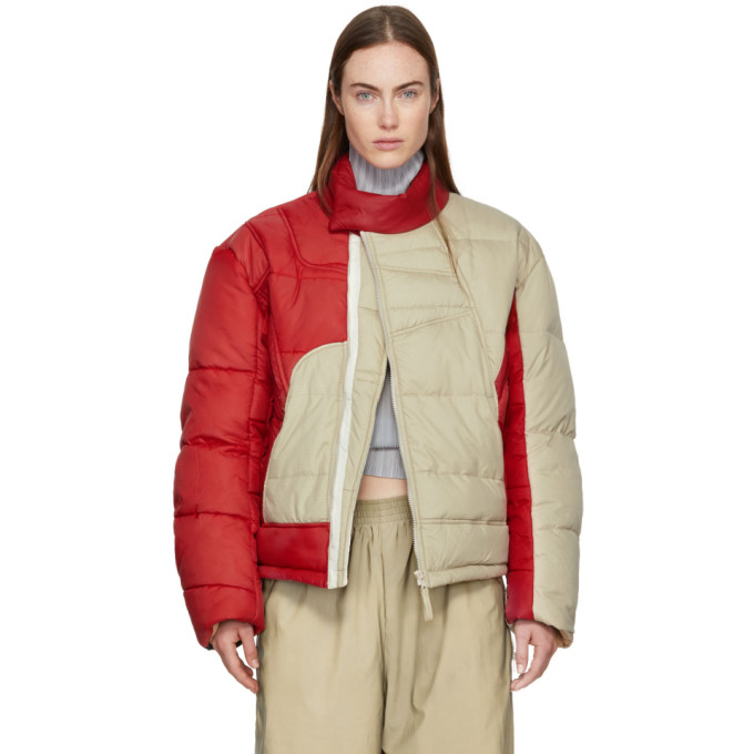 Gmbh Beige And Red Helly Hansen Edition Recycled Down Hans Jacket in Beige / Red