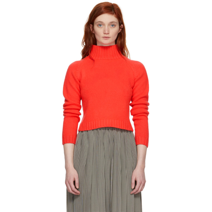 Highland Cropped Cashmere Turtleneck Sweater, Neon Red