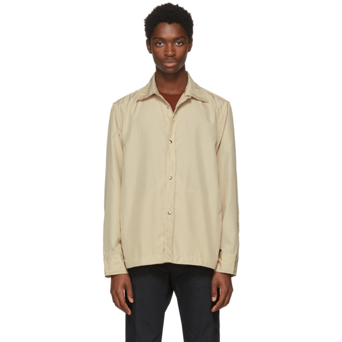L'HOMME ROUGE Lhomme Rouge Beige Sponsor Jacket Shirt in Rice