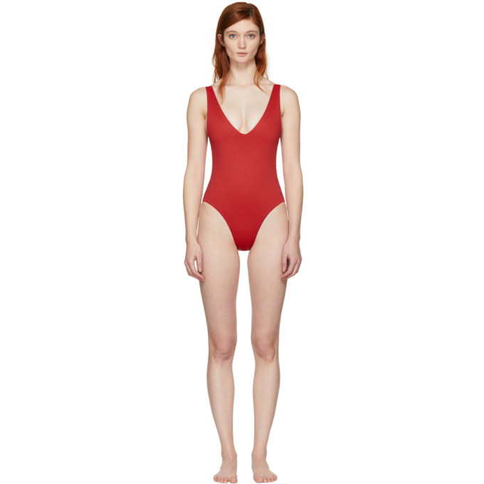 HER LINE Her Line Ssense Exclusive Red Ester One-Piece Swimsuit