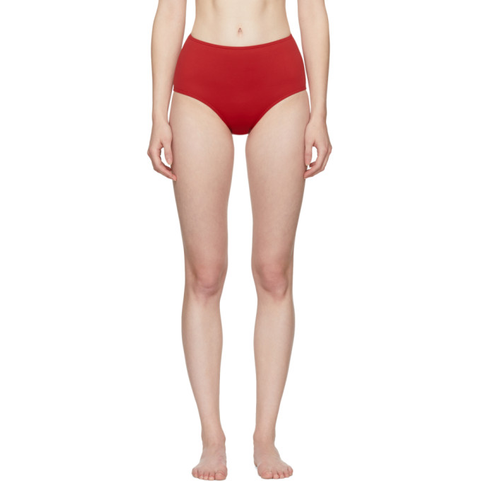HER LINE Her Line Red Classic High-Waist Bikini Briefs