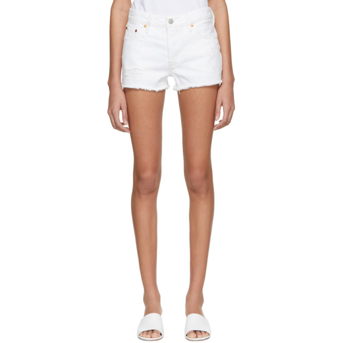 Levis White Distressed 501 Denim Shorts