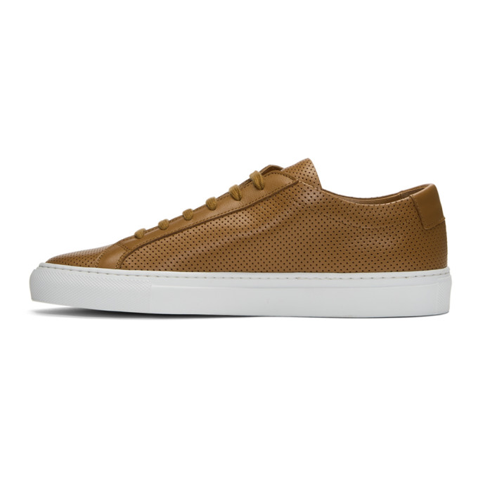 Common Projects Tan & White Achilles Low Perforated Sneakers