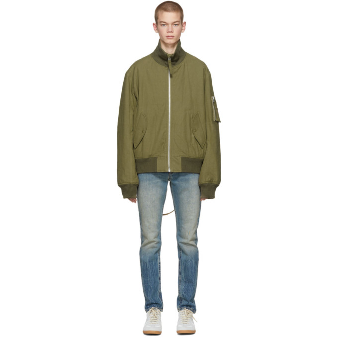 8119be848 Green Re-Edition High Collar Bomber Jacket in Olive