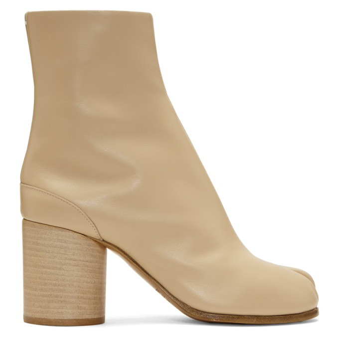 MAISON MARGIELA BEIGE LEATHER TABI BOOTS