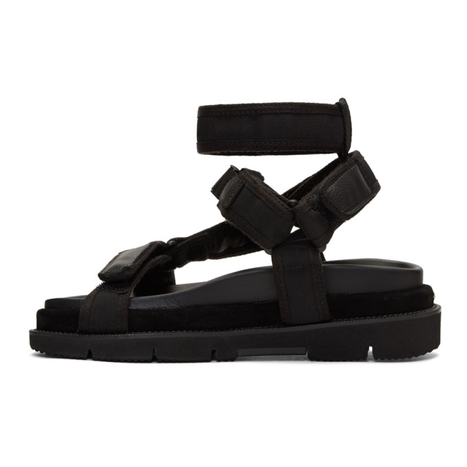 Leather And Suede-trimmed Nylon Sandals - BlackMaison Martin Margiela