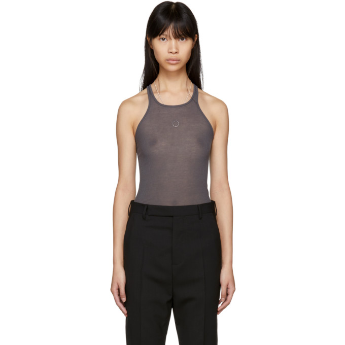 Grey Basic Rib Tank Top by Rick Owens