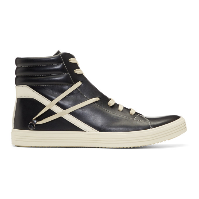Rick Owens  RICK OWENS BLACK AND OFF-WHITE GEOTHRASHER HIGH SNEAKERS