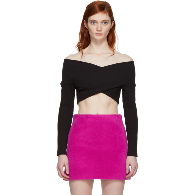 9944877f8a15c7 Opening Ceremony Black Off-The-Shoulder Cropped Knit Sweater ...