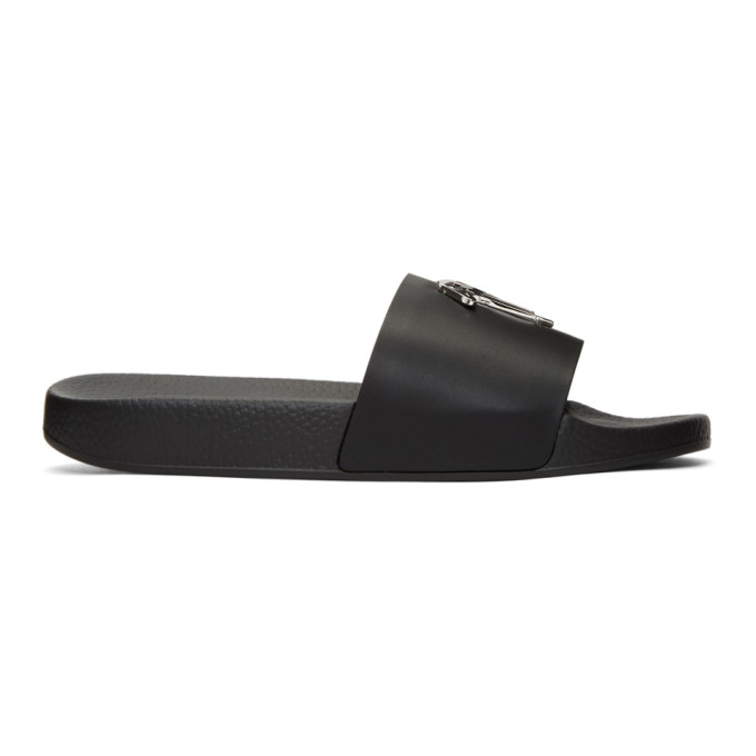 GIUSEPPE ZANOTTI Black Leather Sandals With Silver Logo Detail