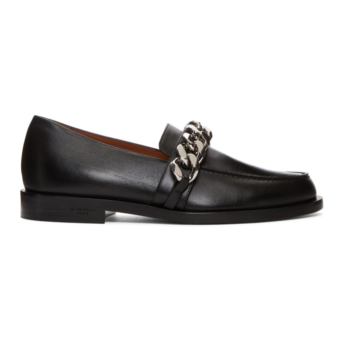 Chain-Embellished Leather Loafers, 001 Black