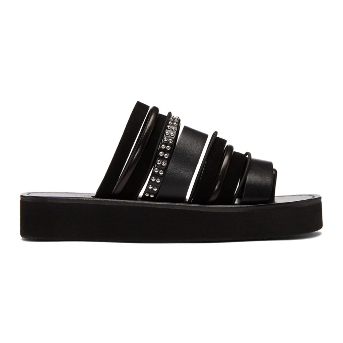 EVA STUDDED LEATHER AND SUEDE SANDALS
