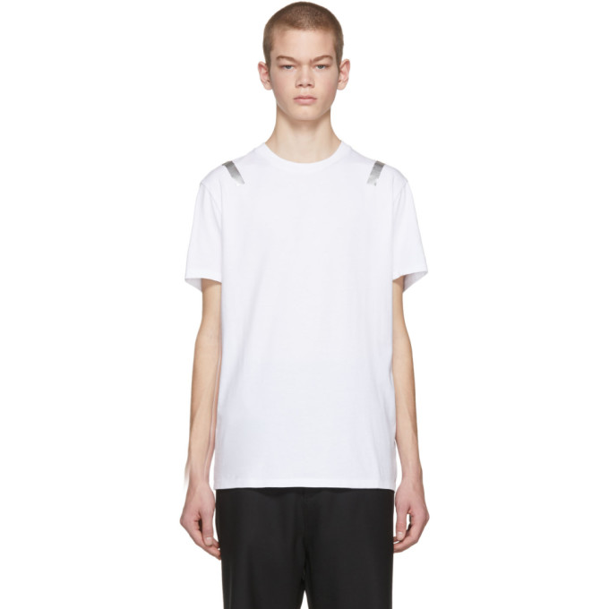 NEIL BARRETT Slim Fit Metallic Print Jersey T-Shirt in White
