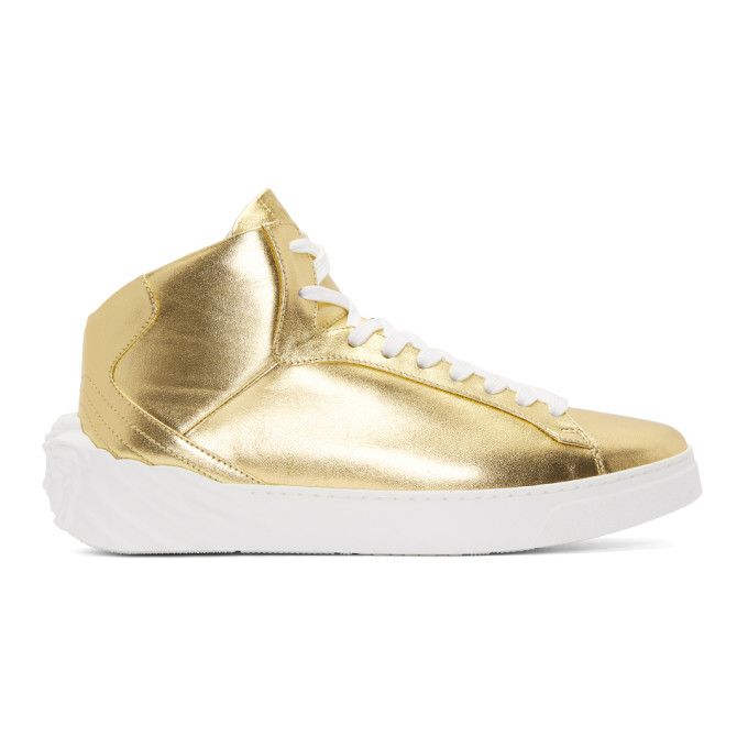 Men'S Metallic Leather High-Top Sneakers With Medusa in D91 Gold