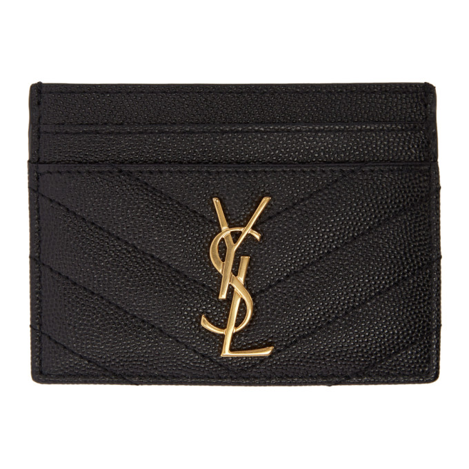 QUILTED MONOGRAM LEATHER CARD HOLDER