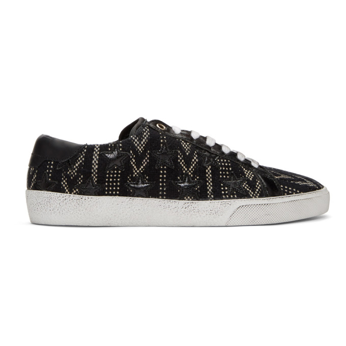 Black and White Tweed SL/06 Court Classic Sneakers Saint Laurent