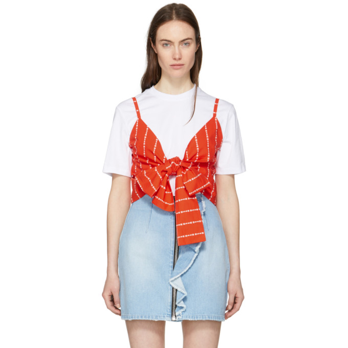 White & Red Logo Stripe Bow T Shirt by Msgm