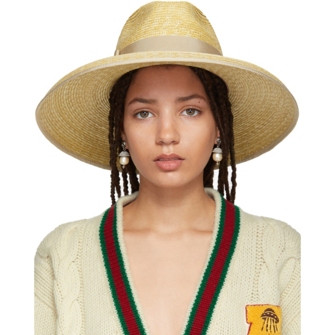 Gucci - Embellished Straw Hat - Womens - Beige, 9577 Shell