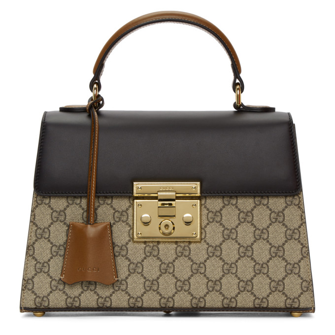 0c5d60a5aa6 Gucci Small Padlock Gg Supreme Canvas   Leather Top Handle Satchel - Beige  In Neutrals