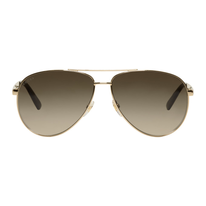 dba560db2c7bc GUCCI Gold Sensual Romanticism Aviator Sunglasses