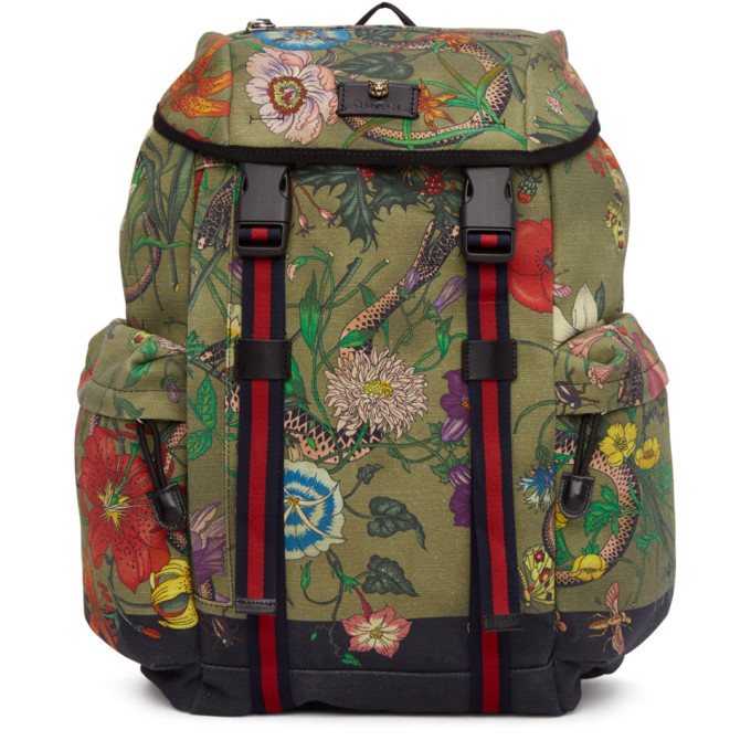 7929b9fa Shoptagr | Multicolor Canvas Flora Snake Print Backpack by Gucci