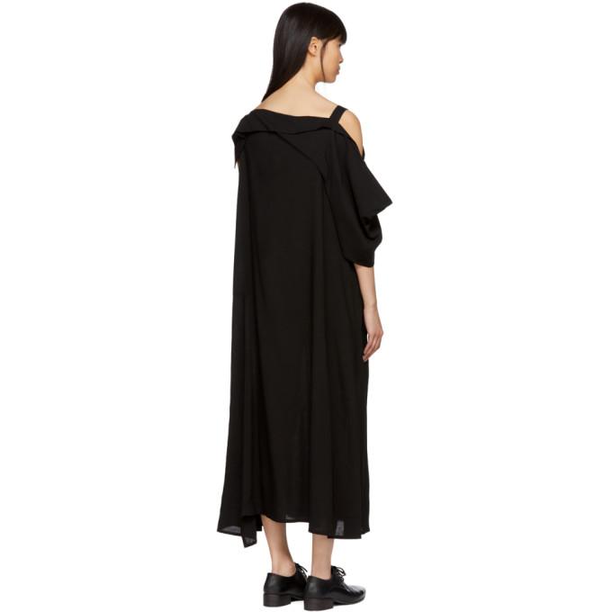 Black Asymmetric Draped Strap Dress Yohji Yamamoto