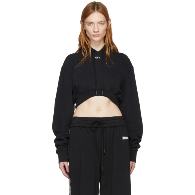 Black 'off' Extra Crop Hoodie by Off White