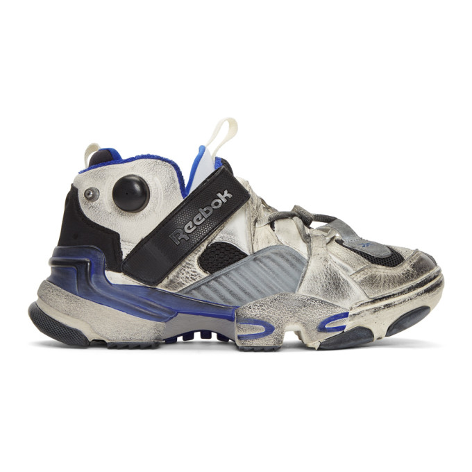 Vetements Reebok Genetically Modified Pump Distressed Leather And Mesh  Sneakers In Multi 6a9d7f12f