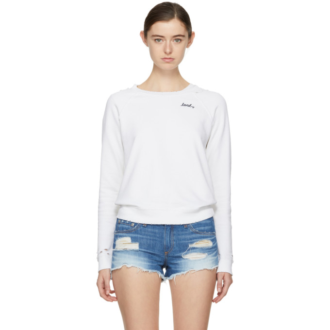 White 'loved' Sweatshirt by Amo