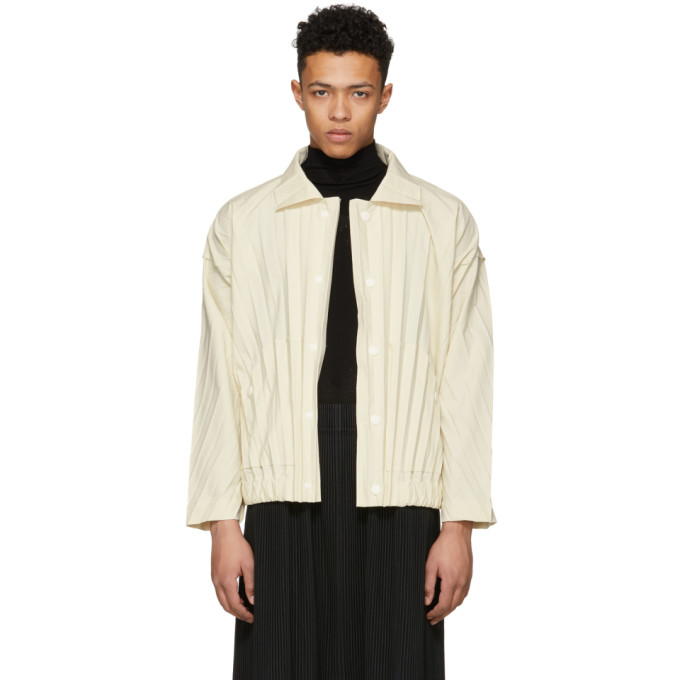 Off White Edge Pleated Bomber Jacket by Homme PlissÉ Issey Miyake