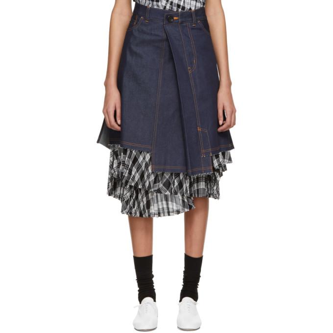 TRICOT COMME DES GARCONS Indigo Denim Asymmetric Skirt