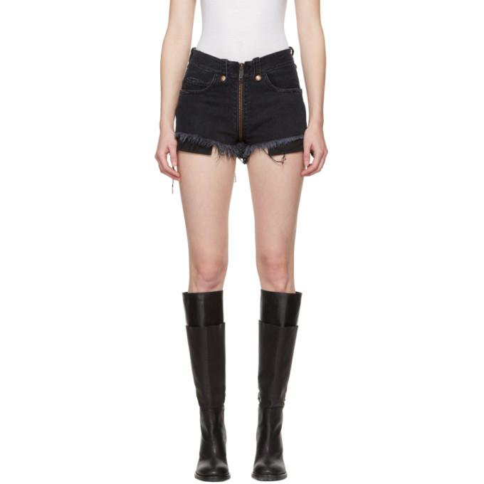 Black Denim Full Zip Shorts