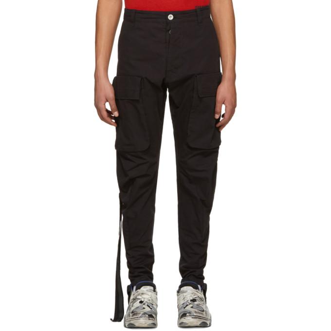 UNRAVEL Oversized Pocket Cargo Pants in Black