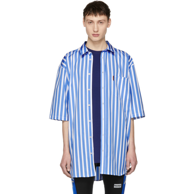 Blue & White Short Sleeve Striped Oversized Shirt by Martine Rose