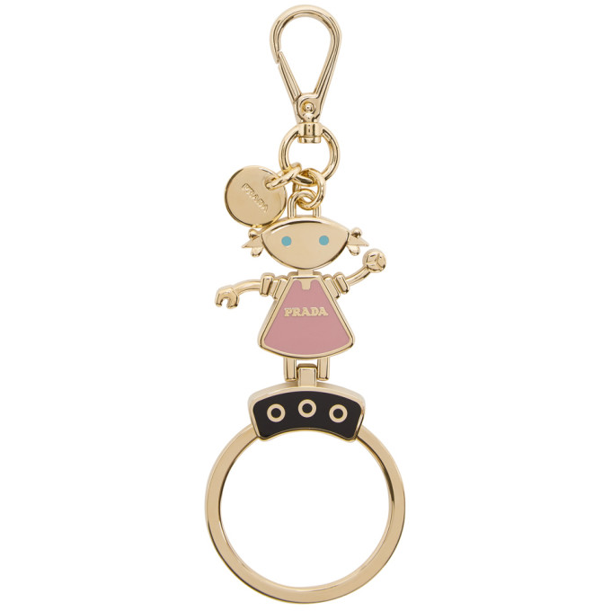 Gold & Pink Robot Doll Keychain by Prada