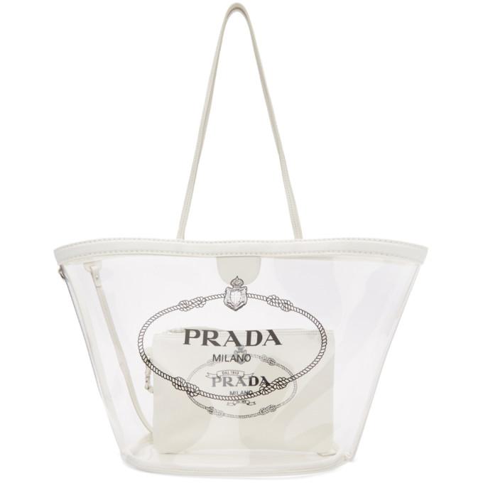 2c901d4b729a Shoptagr | White Pvc Logo Tote by Prada