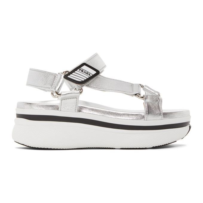 Silver Platform Velcro Sandals by Prada