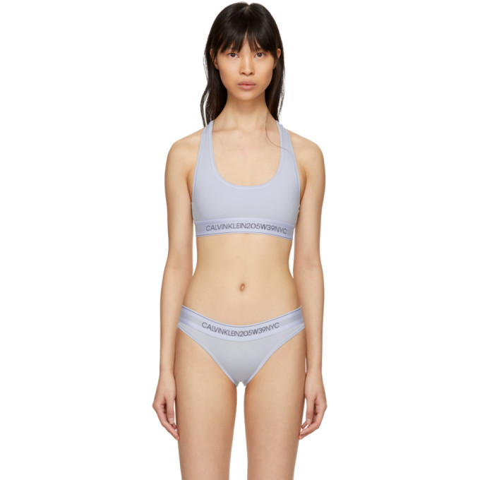 5670f1ebe3 Calvin Klein 205W39Nyc Blue Cotton Logo Collection Bralette In Vent ...