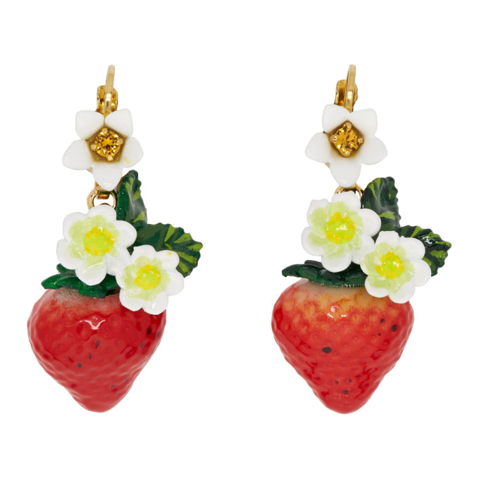 DOLCE & GABBANA DOLCE AND GABBANA MULTICOLOR STRAWBERRY DROP EARRINGS